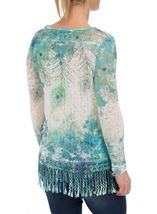 Feather Sublimation Print Crochet Trim Top Jade - Gallery Image 3