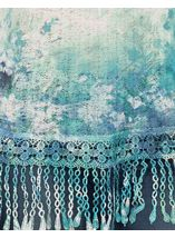 Feather Sublimation Print Crochet Trim Top Jade - Gallery Image 4
