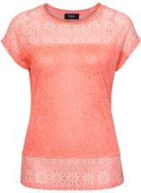 Lace Trim Top Coral - Gallery Image 1