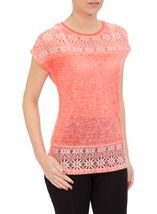 Lace Trim Top Coral - Gallery Image 2