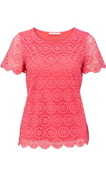 Anna Rose Floral Layer Crochet Short Sleeve Top Coral