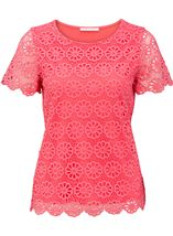 Anna Rose Floral Layer Crochet Short Sleeve Top Coral - Gallery Image 1