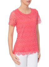 Anna Rose Floral Layer Crochet Short Sleeve Top Coral - Gallery Image 2