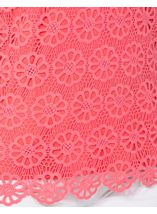 Anna Rose Floral Layer Crochet Short Sleeve Top Coral - Gallery Image 4