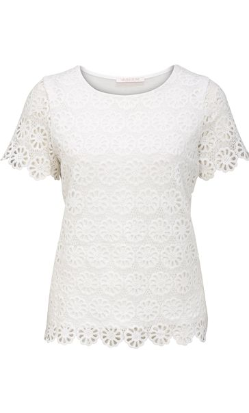 Anna Rose Floral Layer Crochet Short Sleeve Top White