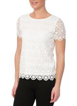 Anna Rose Floral Layer Crochet Short Sleeve Top White - Gallery Image 2