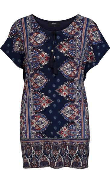 Short Sleeve Printed Stretch Tunic Navy/Coral