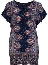 Short Sleeve Printed Stretch Tunic Navy/Coral - Gallery Image 1