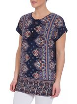Short Sleeve Printed Stretch Tunic Navy/Coral - Gallery Image 2