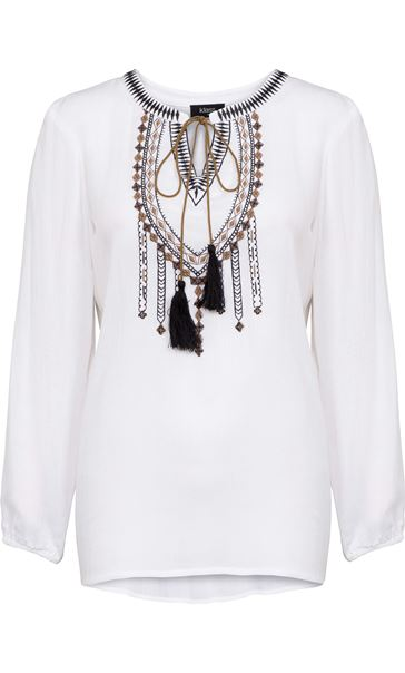 Long Sleeve Embroidered Peasant Top White