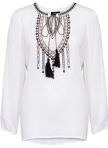 Long Sleeve Embroidered Peasant Top White - Gallery Image 1