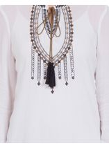 Long Sleeve Embroidered Peasant Top White - Gallery Image 4