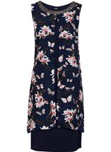Sleeveless Printed Chiffon Layered Embellished Midi Dress Navy/Coral - Gallery Image 1