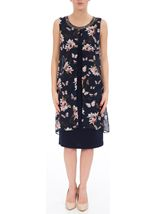 Sleeveless Printed Chiffon Layered Embellished Midi Dress Navy/Coral - Gallery Image 2