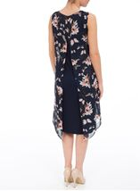 Sleeveless Printed Chiffon Layered Embellished Midi Dress Navy/Coral - Gallery Image 3