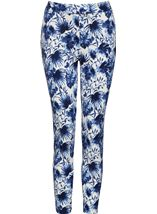 Floral Print Scuba Trousers Navy - Gallery Image 1