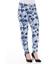 Floral Print Scuba Trousers Navy - Gallery Image 2