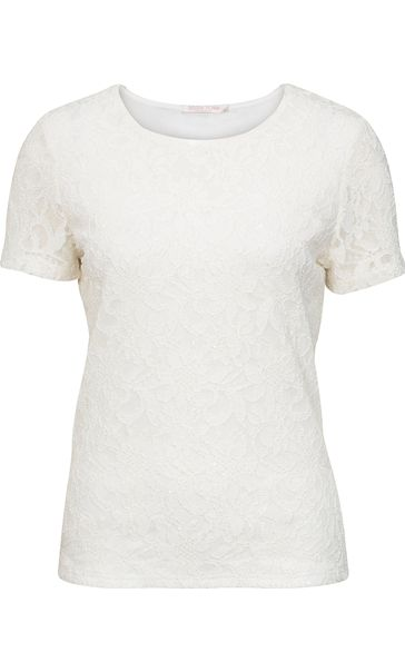 Anna Rose Short Sleeve Lace Top Ivory