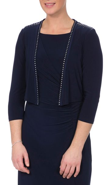 Embellished Three Quarter Sleeve Cover Up Midnight