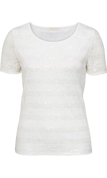 Anna Rose Short Sleeve Lace And Sequin Top White