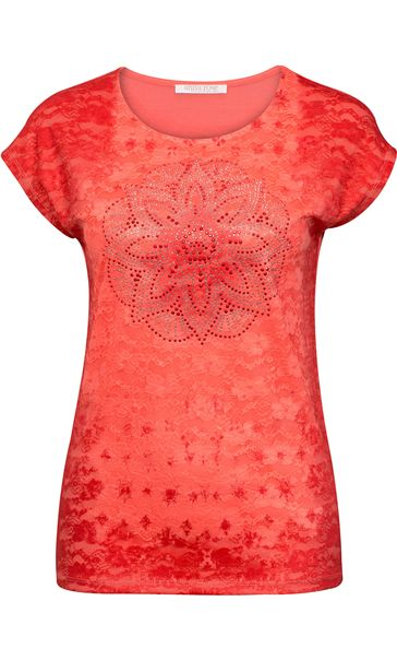 Anna Rose Embellished Lace Layer Top Coral Rose