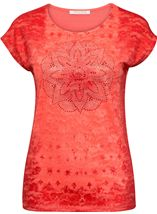 Anna Rose Embellished Lace Layer Top Coral Rose - Gallery Image 1