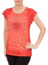 Anna Rose Embellished Lace Layer Top Coral Rose - Gallery Image 2