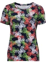 Anna Rose Short Sleeve Butterfly Print Top Orange/Green - Gallery Image 1