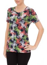 Anna Rose Short Sleeve Butterfly Print Top Orange/Green - Gallery Image 2