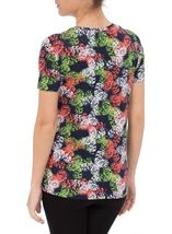 Anna Rose Short Sleeve Butterfly Print Top Orange/Green - Gallery Image 3