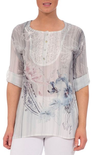 Anna Rose Lace Trim Turn Sleeve Floral Top Grey/Pink/Blue