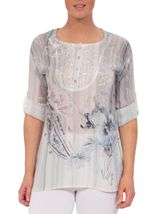 Anna Rose Lace Trim Turn Sleeve Floral Top Grey/Pink/Blue - Gallery Image 1