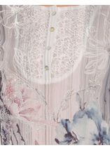 Anna Rose Lace Trim Turn Sleeve Floral Top Grey/Pink/Blue - Gallery Image 3