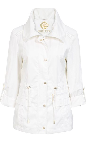 Anna Rose Turn Sleeve Lightweight Jacket Ivory