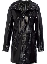 Shiny Textured Hooded Coat Black - Gallery Image 1