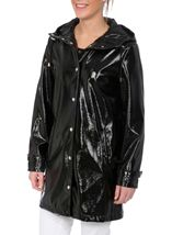 Shiny Textured Hooded Coat Black - Gallery Image 2