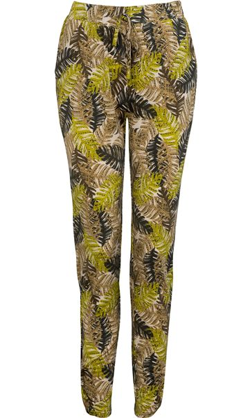 Tapered Stretch Printed Trousers Khaki/Lime