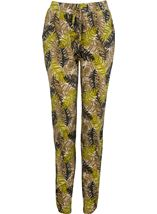 Tapered Stretch Printed Trousers Khaki/Lime - Gallery Image 1