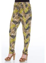 Tapered Stretch Printed Trousers Khaki/Lime - Gallery Image 2
