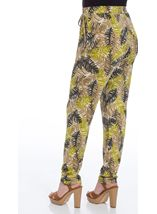 Tapered Stretch Printed Trousers Khaki/Lime - Gallery Image 3