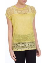 Lace Trim Top Lime - Gallery Image 2