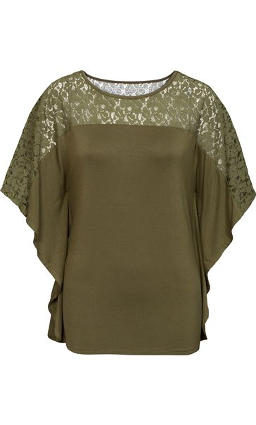 Jersey And Lace Panel Short Sleeve Top Khaki