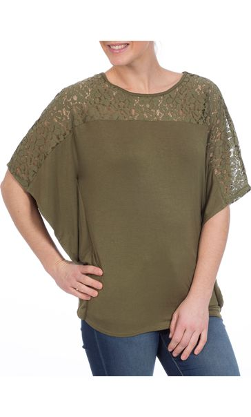 Jersey And Lace Panel Short Sleeve Top Khaki - Gallery Image 2