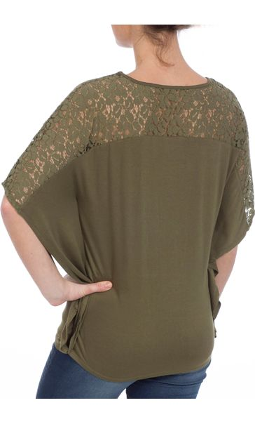 Jersey And Lace Panel Short Sleeve Top Khaki - Gallery Image 3