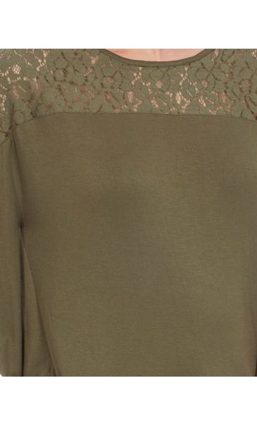 Jersey And Lace Panel Short Sleeve Top Khaki - Gallery Image 4