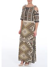Printed Cold Shoulder Maxi Dress Khaki - Gallery Image 2