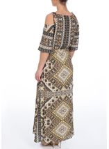 Printed Cold Shoulder Maxi Dress Khaki - Gallery Image 3