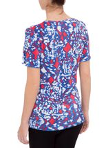 Anna Rose Pleated Short Sleeve Top Raspberry/Blue - Gallery Image 3