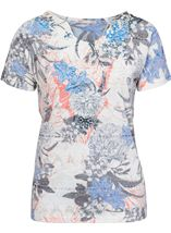 Anna Rose Burn Out Print Top Cobalt/Raspberry - Gallery Image 1