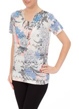 Anna Rose Burn Out Print Top Cobalt/Raspberry - Gallery Image 2